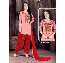 Patiala Dress Material Unstitched, cotton, pink