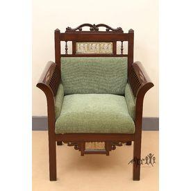 Aakriti Arts Sofa Chair Single Teak Wood with Dhokra Brass Work, green, 30 x26 x38  inch