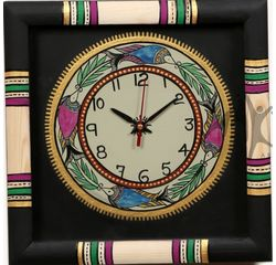 Aakriti Arts WALL CLOCK WITH GLASS, black, 10x10  g