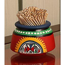 Aakriti Arts Toothpick Holder Terracota Warli Red, red, small