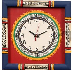 Aakriti Arts WALL CLOCK WITH GLASS, red blue, 10x10  g