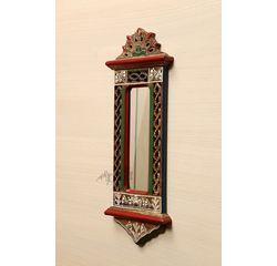 Aakriti Arts Handcrafted Wooden Mirror 20x7 inch, wooden brown, 20x7