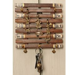Aakriti Arts Handcrafted Key Hook Pannel with Dhokra Art Work 6x6 inch, wooden brown, 6x6
