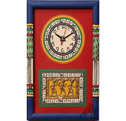 Aakriti Arts WALL CLOCK WITH GLASS, red blue, 15x10  g