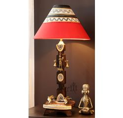 Aakriti Arts Handicraft Wooden Lamp 12 inch With Shade, wooden brown, 12