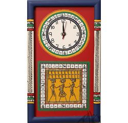 Aakriti Arts WALL CLOCK WITH GLASS, red blue, 18x10  g
