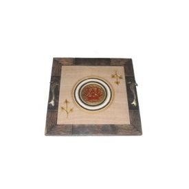 Aakriti Arts Tray Dhokra Warli with Glass in Silk, wooden frame, 13x13
