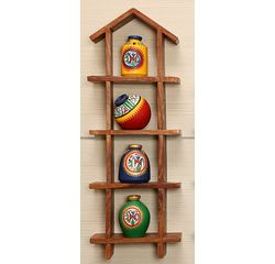 Wooden Sheesham Wall Decor Frame 4HS with out Pots, wooden, 16.5x6x2