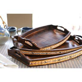 Aakriti Arts Handpainted Wooden Tray Set of 3, brown, 18 x12 /15 x10 /12 x8