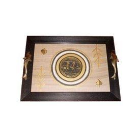Aakriti Arts Tray Dhokra Warli with Glass in Silk, black frame, 16x12