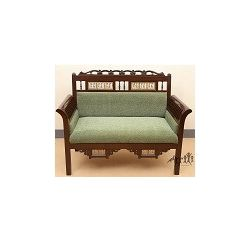 Aakriti Arts Sofa Chair Double Teak Wood with Dhokra Brass Work, green, 51 x26 x38  inch