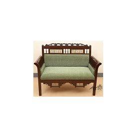 Aakriti Arts Sofa Chair Double Teak Wood with Dhokra Brass Work, green, 51 x26 x38  inch