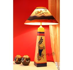 Handpainted Madhubani pattern A shape Wooden Lamp 14 inch with shade by Aakriti Arts, beige, 14
