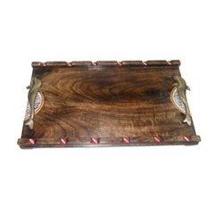 Aakriti Arts Wooden Tray Warli Work, antique finish, 18x12