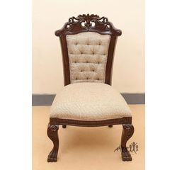 Aakriti Arts Sofa Chair Single Teak Wood with Dhokra Brass Work, beige, 25 x21 x40.5  inch sitting space 24 inch