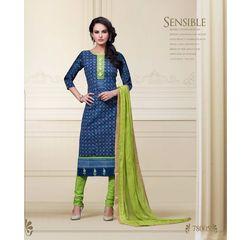 Nitya Collection Salwar Suit Unstitched Blue, blue, cotton
