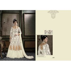 Hanin Collection Vol 3 Salwar Suit Semistitched Off White, off white, silk