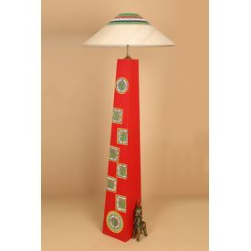 Handicraft Wooden Corner Lamp 42 inch With Shade by Aakriti Arts, red, 42