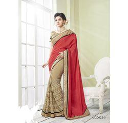 Zeenat Collection Vol 3 Designer Heavy Work Georgette Saree Beige & Red, beige & red, georgette