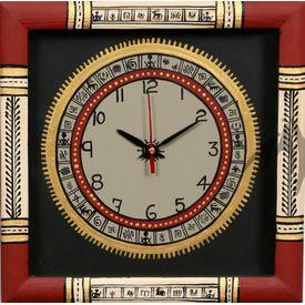 Aakriti Arts Handpainted Wall Clock with Warli work 10x10G inch, black maroon, 10x10  g