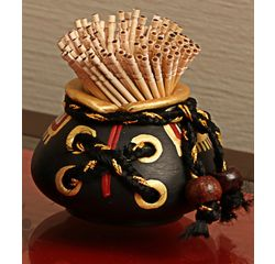 Aakriti Arts Toothpick Holder Terracota Warli Antique, antique, small