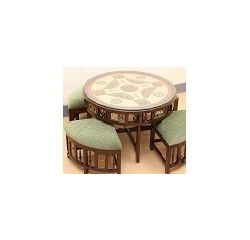 Aakriti Arts Dining Table and 4 Stools with Dhokra Brass and warli art work, Green, geen upholstery and wooden brown, table height 20  dia 36  inch stool 17 x17 x12  inch