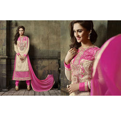 Crystal Collection Salwar Suit Semi Stitched Pink, pink, georgette