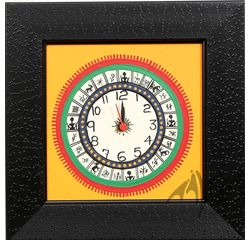 Aakriti Arts WALL CLOCK W/O GLASS, yellow black, 9x9