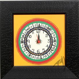 Aakriti Arts WALL CLOCK W/O GLASS, yellow black, 9x9