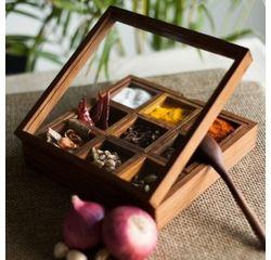 Aakriti Arts Handpainted Masala Box 9, brown
