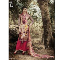 Ramp Collection Vol 4 Designer Salwar Suit Unstitched Beige & Red, beige & red, cambric