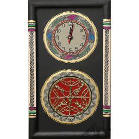 Aakriti Arts WALL CLOCK WITH GLASS, black, 18x10  g