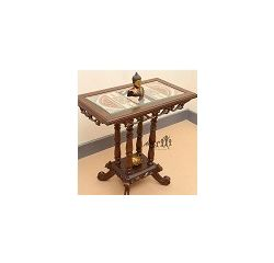 Aakriti Arts Table Teak Wood with Dhokra Brass Work and Warli Art, wooden brown