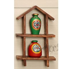 2 Hand Painted Warli Miniature Pots with Sheesham Wood Wall Decor Frame 2HS, wooden, 9.5x6x2
