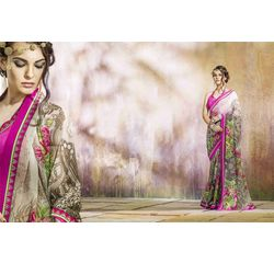 Mannat Collection Printed Georgette Sarees Multicolor, multicolor, georgette, printed