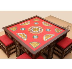 Aakriti Arts Dining Table with 4 Stools Warli Red, red