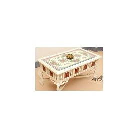 Aakriti Arts Centre Table Teak Wood with Dhokra Brass Work and Warli Art, white, 36 x21 x18  inch