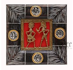Aakriti Arts Handcrafted Dhokra Warli Wall Frame with Glass 6.5x6.5 inch, brown, 6.5x6.5