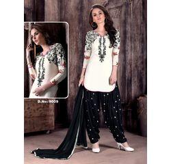 Patiala Dress Material Unstitched, cotton, white