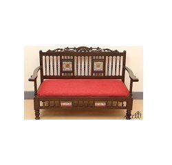 Aakriti Arts Sofa Chair Double Teak Wood with Dhokra Brass Work, maroon red, 51 x25 x31  inch sitting space 44 inch
