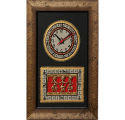 Aakriti Arts Handpainted Wall Clock with Dhokra and Warli work 15x10 inch, black gold, 15x10