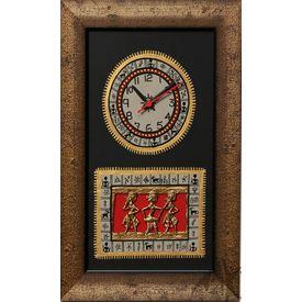 Aakriti Arts Handpainted Wall Clock with Dhokra and Warli work 15x10 inch, black gold, 15x10