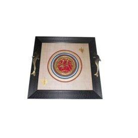 Aakriti Arts Tray Dhokra Warli with Glass in Silk, black frame, 13x13