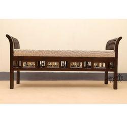Aakriti Arts Sette Single Teak Wood with Dhokra Brass Work, beige, 51.5 x15 x24  inch sitting space 45 inch