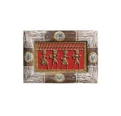 Aakriti Arts Handcrafted Dhokra Warli Wall Frame without Glass 7x10 inch, brown, 7x10