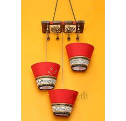Aakriti Arts Lamp Shade Light Hanging Red and Gold Set of 3, red/gold