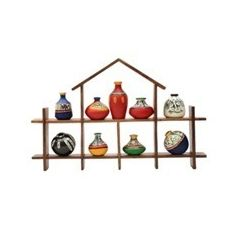 9 Hand Painted Warli Miniature Pots with Sheesham Wood Wall Decor Frame 9HS, wooden, 16.5x10.5x2