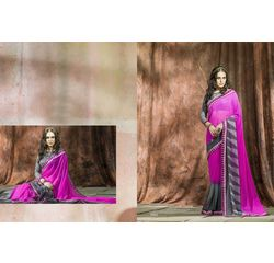 Mannat Collection Printed Georgette Sarees Grey & Pink, grey & pink, georgette, printed