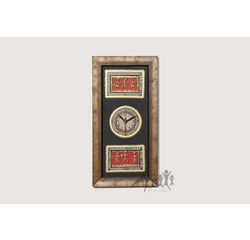 Aakriti Arts Handpainted Wall Clock with Dhokra and Warli work 20x10 inch, black gold, 20x10