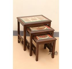 Aakriti Arts Peg Table Teak Wood with Dhokra Brass and Warli Work Set of 3, wooden brown, 15 x14 x15  inch